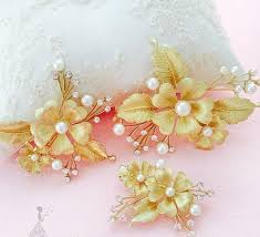 prom accessories gold flower bridal rhinestone plated comb wedding prom accessories