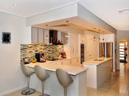 kitchen small design with breakfast bar subway tile storage