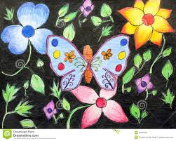 original drawing of beautiful butterfly and flower stock