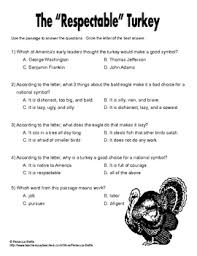 reading comprehension freebie turkey nonfiction