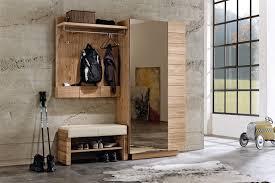 garderobenpaneel mit sitzbank garderobe in wildeiche und sitzbank mit lederbezug v montana