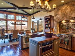rustic country kitchen decor brick stone wall ash wooden cabinet full size of kitchen rs heather guss lodge brown transitional kitchen 4x3 jpg