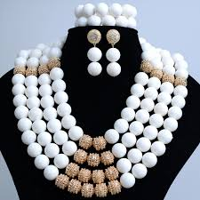 wedding bead necklace images White coral african traditional wedding beads jewelry set 4 layers jpg