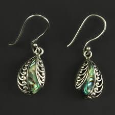 silver teardrop earrings 925 sterling silver paua shell teardrop earrings pakat