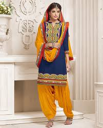 orange and blue combination palkhi inc patiala suit in blue and yeallo color combination