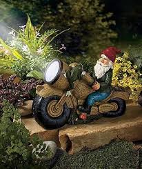 Solar Garden Ornaments Outdoor Decor Brilliant Gnome Garden Decor Motorcycle Gnome Garden Light Solar