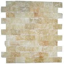 honey onyx polished 1x2 splitface mosaic tiles