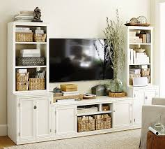 Media Console With Hutch Logan Media Suite With Door Bookcase Pottery Barn