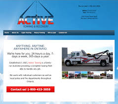 active towing blue orchard communications web design activetowing ca homepage full screen view