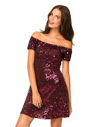 motel catalina off the shoulder dress in burgundy sequin topshop