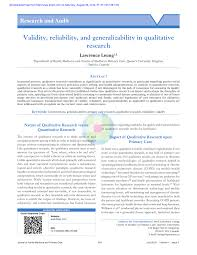 validity reliability and generalizability in qualitative research