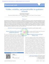 Family Medicine Forum 2015 Program Validity Reliability And Generalizability In Qualitative