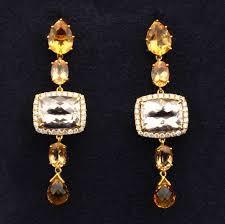dangling diamond earrings morganite imperial topaz and citrine dangling diamond earrings