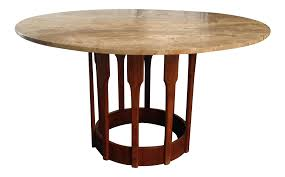 john keal walnut travertine dining table chairish