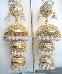 dangler earrings 3 tier jhumka gold plated jadau pearl temple dangler earrings