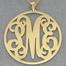 2 inch monogram necklace 10k 14k solid gold circle monogram pendant 1 1 2 inch diameter