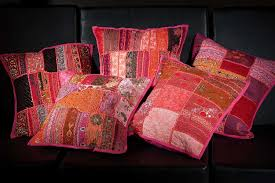 Throw Pillow Covers Online India Buy Online Sari Fabric Beaded Patchwork Cushion Covers Set Pillows