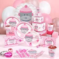 Modern Mommy Baby Shower Theme - sock monkey pink baby shower party supplies 94431 baby shower