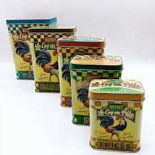 set cinq boites métal vintage rétro cuisine boite rangement sucre