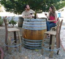 Wine Barrel Patio Table Oak Wine And Whiskey Barrel Outdoor Furniture