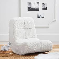 ivory sherpa faux fur mini rocker speakerless chair pbteen