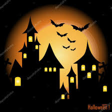 halloween background with haunted house bats and full moon vec