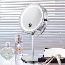 round makeup mirror with lights 6 inch 5x magnification cosmetic makeup mirror round shape 2sided