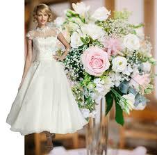 tea length wedding dresses uk leona ivory white tea length vintage 50 s lace wedding bridal