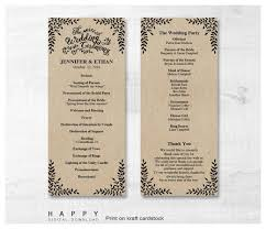ceremony programs rustic leaves ceremony program templates happy digital