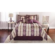 Plum Bed Set Mainstays Adelaide 7 Damask Embroidered Bedding Comforter