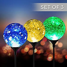 solar powered crackle glass ball 7 color changing stake lights