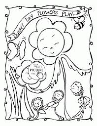 sunny day flowers play coloring page for kids summer coloring