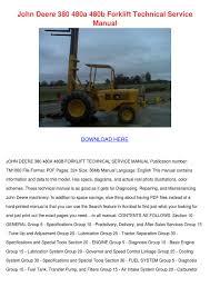 john deere 380 480a 480b forklift technical s by mirta hugh issuu