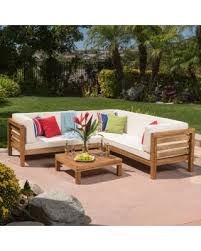 Spectacular Deal On Oana Outdoor Piece Acacia Wood Sectional - Patio furniture sofa sets