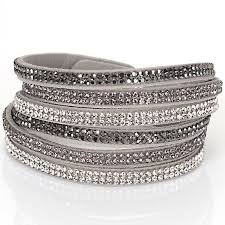 silver leather wrap bracelet images Double wrap velvet leather 3 rows crystal bracelet with full pave jpg
