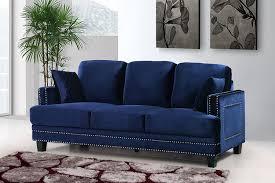 Fabric Sofa Set Amazon Com Meridian Furniture Ferrara Velvet Nailhead Sofa Navy