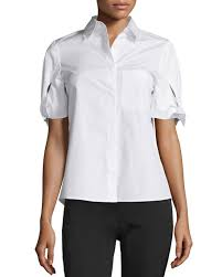 see by chloe short sleeve poplin blouse white