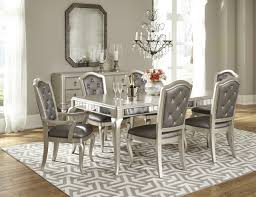 samuel lawrence diva 7 piece rectangular dining set in metallic by