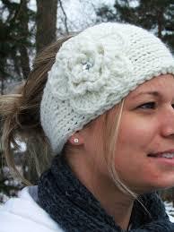 flowers for headbands knit ear warmer headband in winter white w crocheted flower a