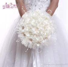 wedding supplies online new arrival bridal bouquet stain tulle pearls flowers hot sale