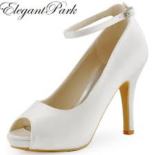 wedding shoes white fashion woman shoes hp1543i white ivory peep toe pumps women
