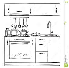 kitchen cupboard shelves hand drawn stock vector image 75852000