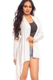 Draped Cardigan Sweater White Open Front Draped Neck Knit Crochet Detail Long Sleeve