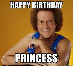 Birthday Princess Meme - happy birthday princess gay richard simmons meme generator