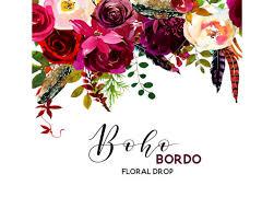 burgundy flowers boho bordo watercolor clipart burgundy white flowers deer