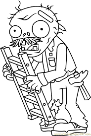 ladder zombie coloring free plants zombies coloring