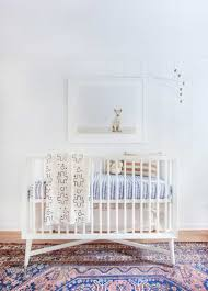 All White Crib Bedding Modern Baby Nursery With White Crib And Patterned Area Rug Also