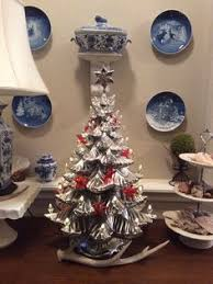 vintage white lighted ceramic tree blue accent color