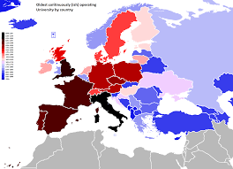 European Country Map by Date Of Establishment Of Oldest Continuously Operating University