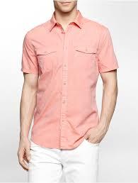 calvin klein jeans slim fit acid wash chambray short sleeve shirt